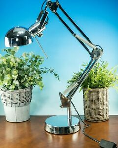 CHROME ANGLEPOISE RETRO STYLE OFFICE TABLE / DESK / BEDSIDE LAMP