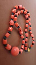 "VINTAGE CHINESE CARVED PEKING GLASS BEADS NECKLACE IN CORAL COLOR 22"" LONGEVITY"