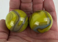 2 BOULDERS 35mm MERMAID Marbles glass ball Yellow/Green/Blue Giant LARGE Swirl