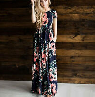 Women Ladies Short Sleeve Summer Floral Print Holiday Beach Boho Long Maxi Dress