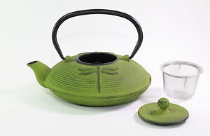 24 fl oz Green Dragonfly Japanese Cast Iron Teapot Tetsubin with Infuser Filter