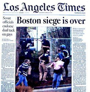 Boston Marathon Bombings Newspaper Los Angeles Times 4/20/2013 Bomber Terrorists