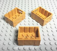Lego New Adventurers Chest Container / Box / Medium Dark Flesh Color Lot X3 Pc.