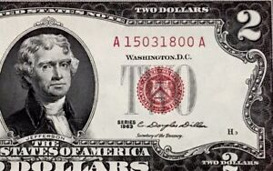 1963 Two Dollar Bill $2 RED SEAL ( MONTICELLO ) UNCIRCULATED