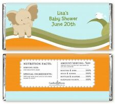 Elephant Baby Neutral - Personalized Baby Shower Candy Bar Wrappers -Candy Favor