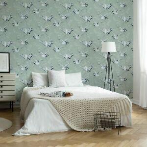 Superfresco Easy Crane Mint Oriental Wallpaper