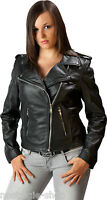 Damen Lederjacke Motorradjacke Biker,Rocker Rockabilly Kutte Marlon Brando Jacke