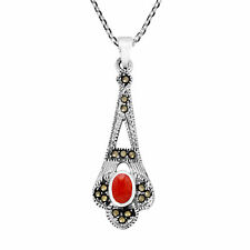 Vintage Sterling Silver Dangle Pendant w/ Oval Red Coral Necklace