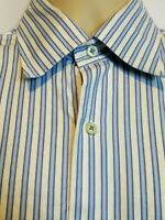 Robert Talbott Carmel Long Sleeve Button Up Shirt Blue White Stripe Mens Large