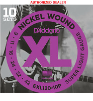 10 Sets D'Addario EXL120-10p Electric Guitar Strings 9-42 Super Light
