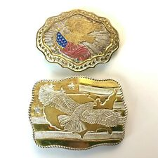 New listing Lot of 2 Crumrine Belt Buckles Silver Plate on Jeweler's Bronze Usa Flag Eagle