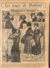 Parure de Fourrure Collet de Taupe Boléro Robe Chapeau Fashion Croquis WWI 1916