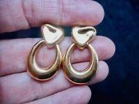 Vintage MONET Gold Tone Dangle Pierced Earrings