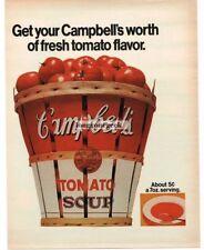 1970 Campbell's Tomato Soup Bushel Basket Vtg Print Ad