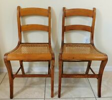 Beautiful PAIR Antique/Vtg Maple Wood Cane Seat Dining Accent Side Chairs