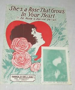 Sheet Music. She's a Rose That Grows in Your Heart. rose & Dellon. Free US Ship
