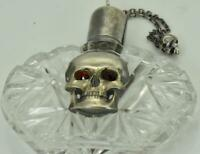 Antique 19th Century German Skull silver&hand cut crystal Medicine Poison bottle