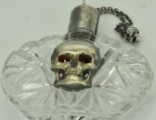 Antique 19th Century German Skull silver&hand cut crystal Medicine Poison bottle