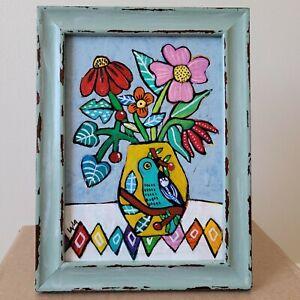 Folk Art ORIGINAL Flower Vase Pot Bird Branch Berry Botanical Leaf Whimsical