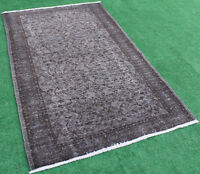 Turkish Rug 48''x79'' Hand Knotted Color Transition Gray Vintage Rug 124x202cm