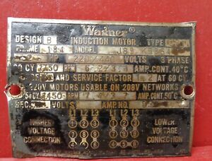VINTAGE WAGNER INDUCTION MOTOR ID INFORMATION NAME PLATE STEAMPUNK