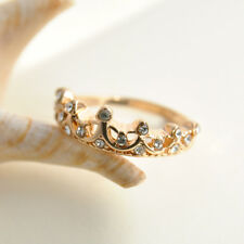 Simple Fashion Women Rhinestone Crystal Princess Crown Ring Jewelry Size 6 BV61