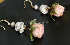 white cultured freshwater pearl Earrings wihte flower 14k filled gold