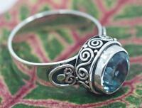 Handmade Sterling Silver .925 Swirl Style Ring.Round Blue Topaz Sz 6.5,7,8,9,9.5