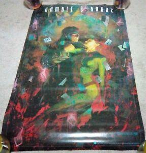 "Vintage 1995 Gambit & Rogue Poster 34.5"" x 22.5"" Marvel Comics Dennis Calero"
