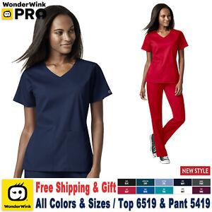 WonderWink Scrubs Set PRO Women's 4 Pocket Wrap Top & Waist Cargo Pant 6519/5419