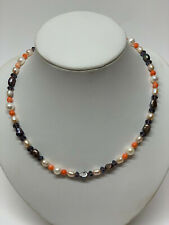 18.5'' Custom Mad Multi-colour pearl, coral & crystal necklace