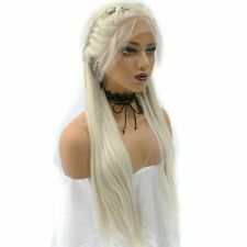 Braided Natural Long Straight Platinum Blonde Lace Front Wig For Women