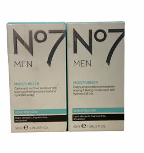2 No7 MEN Moisturiser Calms Soothes Sensitive  care 50ml 1.69 us fl.oZ.