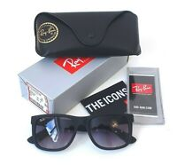 Ray-Ban Justin RB4165 601/8G 54-16 Sunglasses Matte Black Grey Gradient Nylon Sq
