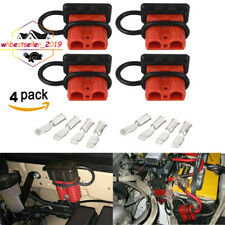 4x 50A Car 12V Battery Quick Connector Winch Power Cable Plug Connect +Dust Caps