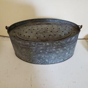 Rare Large Antique Minnow Bucket Exc CABIN, DEN, MAN CAVE, LAKE HOUSE DECOR