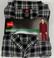 Hanes Pajama Set Flannel Long Sleeve Gray Blue Red Plaid Various Sizes