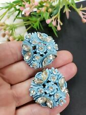"Estate Vintage Blue Celluloide White Rhinestones Earrings Clip On 1""D"