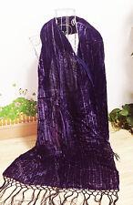 Silk Velvet Scarf Long Shawl Wrap Women's Stole Burn out Striped Purple Hot Pink