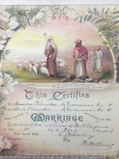 Antique Marriage Certificate Decorated with Flowers  dated 1915