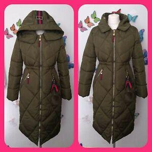 Linbai.w green puffa coat large grosgrain UK 12 comfy zip charm pockets hooded