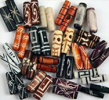 Bone Beads, Etched - Indonesian - 40+ Pieces, All in Pairs, Approx 1 Inch
