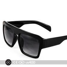 Black Flat Top Sunglasses Hipster Stylish Block Large Glasses Free Case S067