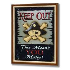 WOODEN PIRATE KEEP OUT SIGN WALL HANGING THIS MEANS YOU MATEY BRAND NEW