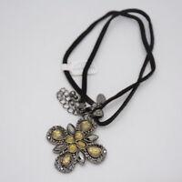 Lia sophia signed jewelry black rhinestone flower pendant necklace leather chain