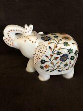7� White Marble Multi Stone Inlaid Elephant