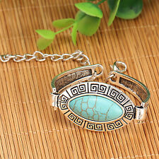 Tibetan Silver Turquoise Pattern Blue Oval Boho Bracelet Bangle Jewellery Gift