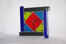 Hand Made Glass Clock Mondrian Style BRAND NEW
