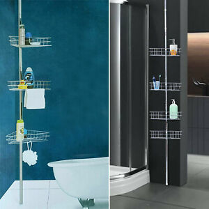 Non-Rust Bathroom Telescopic Corner Shelf Storage 4 Tier Shower Caddy Organiser