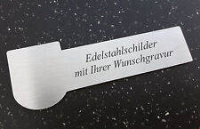 NAMENSSCHILD Türschild aus Edelstahl - mit Wappenform 90x30mm - mit WUNSCHGRAVUR